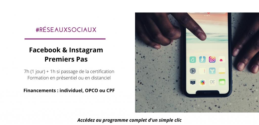 formation financement CPF réseaux sociaux facebook et instagram premiers pas